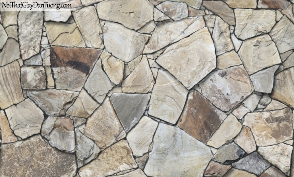 3D, Giấy dán tường giả đá, giả đá màu trắng 3D87017-2 g, giấy dán tường giả đá nhiều màu sắc