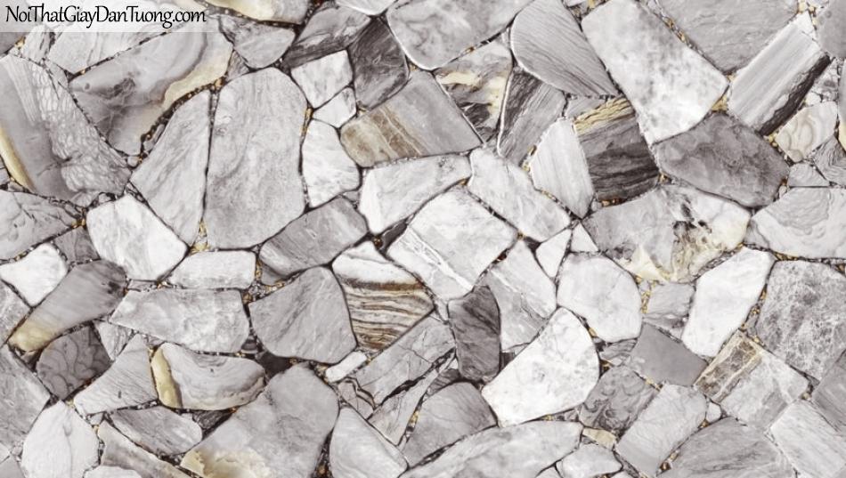 3D, Giấy dán tường giả đá, giả đá màu trắng 3D 87028-2 g, giấy dán tường nền trắng xám hơi đậm