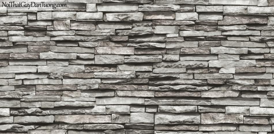 3D, Giấy dán tường giả đá, giả đá màu trắng 3D 87030-1 g, giấy dán tường giả đá màu nâu xám