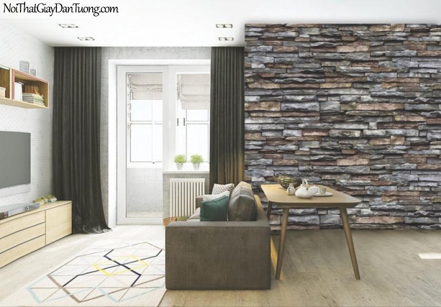 3D, Giấy dán tường giả đá, giả đá màu trắng 3D 87030-4 g pc, giấy dán tường phối cảnh