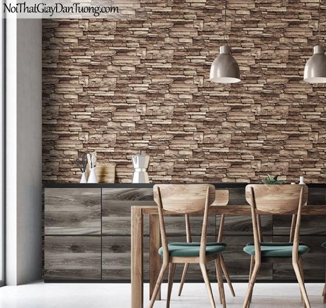 3D, Giấy dán tường giả đá, giả đá màu trắng 3D H6021-4 g,giấy dán tường phối cảnh nền nâu vàng