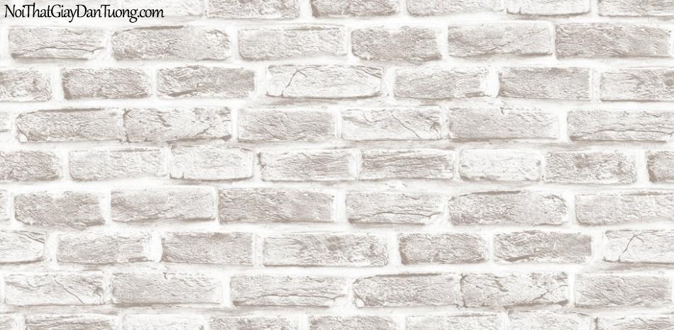 3D, Giấy dán tường giả đá, giả đá màu trắng 3D H6033-1 g, giấy dán tường nền trắng xám giả gạch