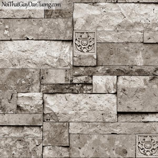 3D, Giấy dán tường giả đá, giả đá màu trắng 3D M7008-1 g, giấy dán tường nền xám trắng