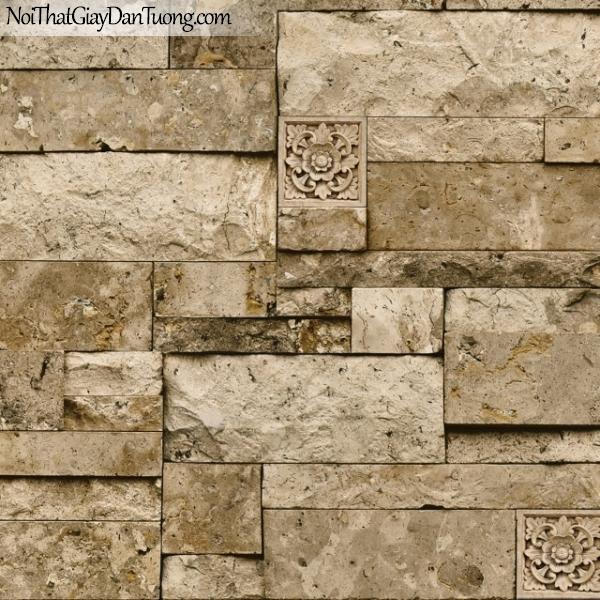 3D, Giấy dán tường giả đá, giả đá màu trắng 3D M7008-3 g, giấy dán tường nền vàng nâu giả đá