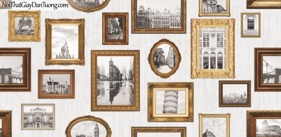 Giấy dán tường giả gỗ, những khung ảnh gỗ, đen trắng 88218-1 g