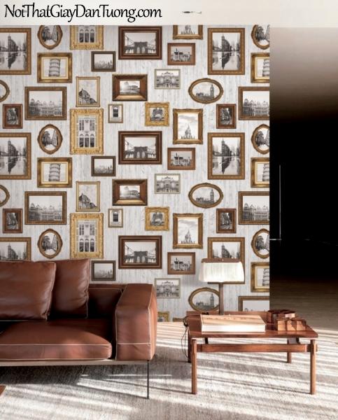 Giấy dán tường giả gỗ, những khung hình bằng gỗ, màu vàng 88218-1 gp PC