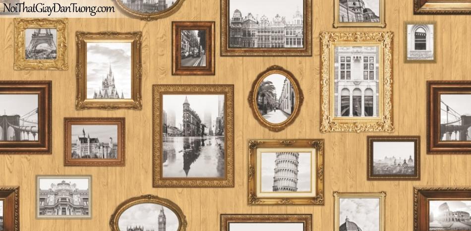 Giấy dán tường giả gỗ, những khung hình bằng gỗ, màu vàng 88218-2 g