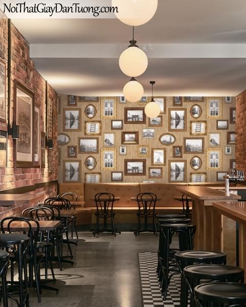 Giấy dán tường giả gỗ, những khung hình bằng gỗ, màu vàng 88218-2 gp PC