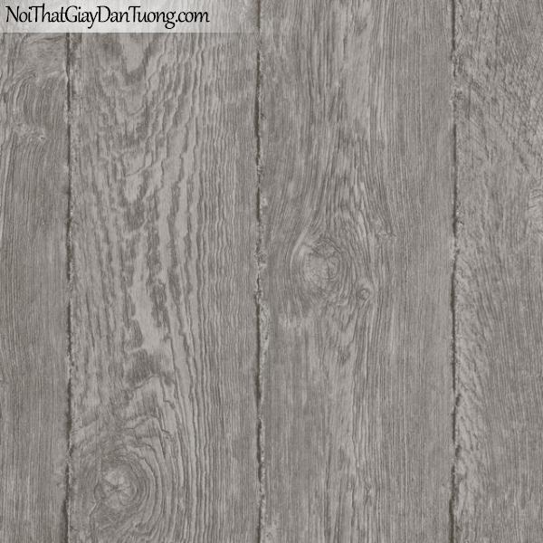 Giấy dán tường giả gỗ, những miếng gỗ lớn xếp cạnh nhau, màu nâu xám M7024-3 g