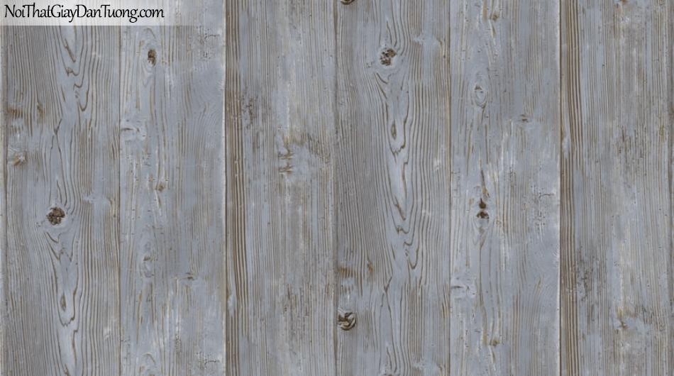 Giấy dán tường giả gỗ, những thanh gỗ lớn xếp cạnh nhau, màu nâu xám 87005-3 g
