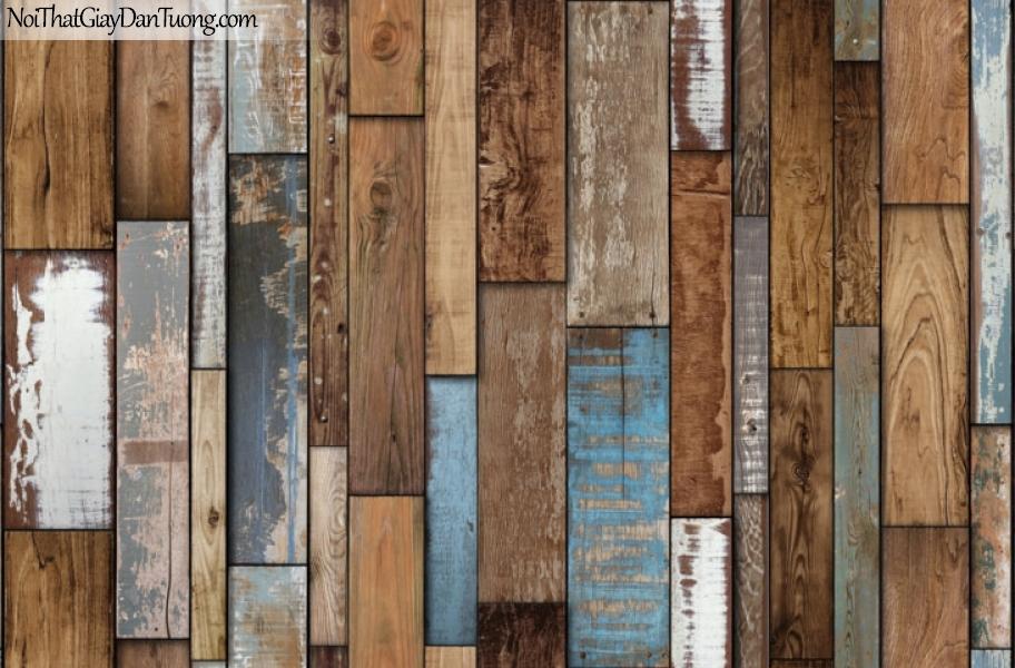 Giấy dán tường giả gỗ, những thanh gỗ nhỏ nhiều màu xếp cạnh nhau 87007-1 g