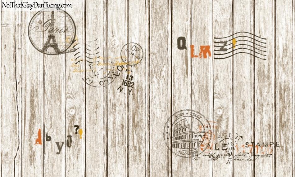 Giấy dán tường giả gỗ, những thanh gỗ nhỏ xếp cạnh nhau, màu nâu trắng, chữ, biểu tượng 87004-2 g