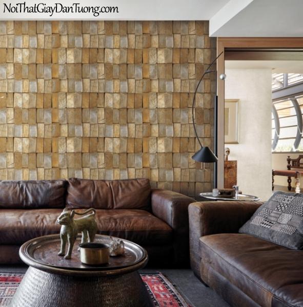 Giấy dán tường giả gỗ, những thanh gỗ nhỏ xếp cạnh nhau, màu vàng, nâu 83118-1 g PC
