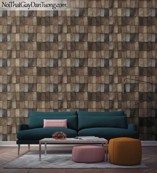 Giấy dán tường giả gỗ, những thanh gỗ nhỏ xếp cạnh nhau, màu vàng nâu, xám 83118-2 g
