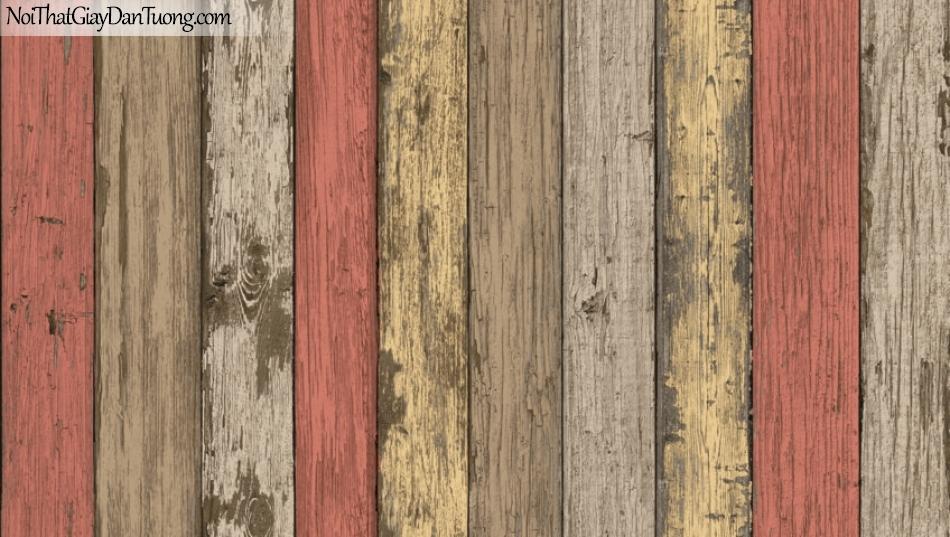 Giấy dán tường giả gỗ, những thanh gỗ nhỏ xếp cạnh nhau, màu vàng, vàng cam, xám 87022-3 g