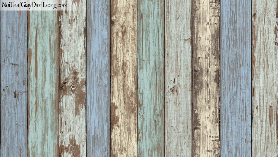 Giấy dán tường giả gỗ, những thanh gỗ nhỏ xếp cạnh nhau, màu vàng, xanh 87022-2 g