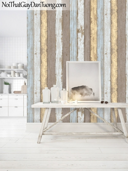Giấy dán tường giả gỗ, những thanh gỗ nhỏ xếp cạnh nhau, màu vàng, xanh, xám 87022-4 gp PC