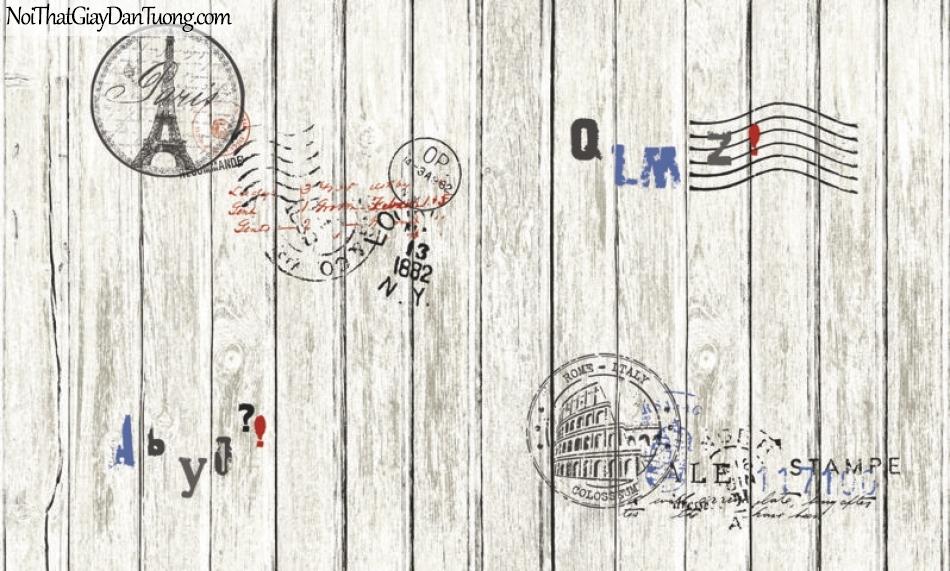 Giấy dán tường giả gỗ, những thanh gỗ nhỏ xếp cạnh nhau, màu xám trắng, chữ, biểu tượng 87004-1 g
