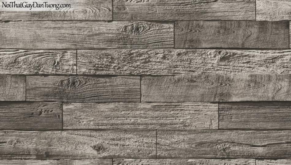 Giấy dán tường giả gỗ, những thanh gỗ nhỏ xếp chồng cạnh nhau, màu nâu 85069-4 g