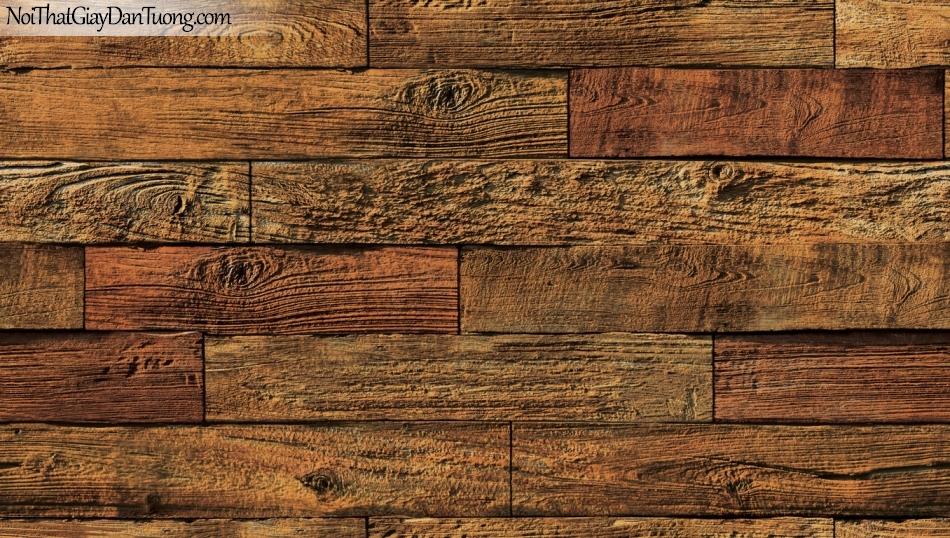 Giấy dán tường giả gỗ, những thanh gỗ nhỏ xếp chồng cạnh nhau, màu vàng cam đỏ 85069-3 g