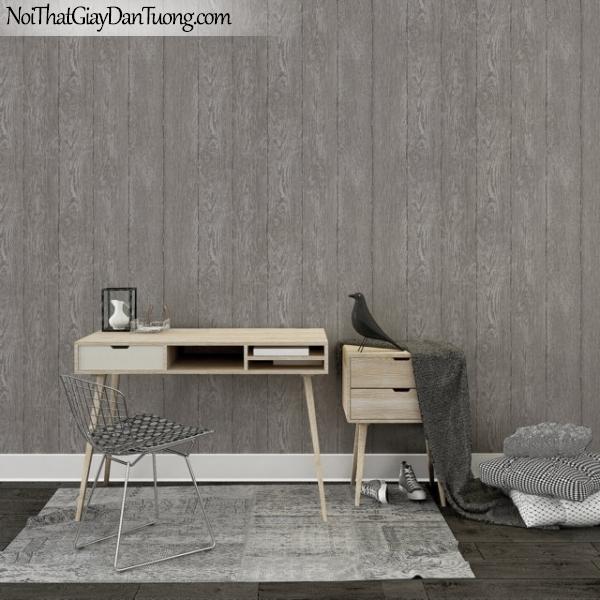 Giấy dán tường giả gỗ, những thanh gỗ nhỏ xếp đứng cạnh nhau, màu nâu xám M7024-3 gp PC