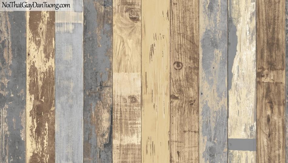 Giấy dán tường giả gỗ, những thanh gỗ nhỏ xếp đứng cạnh nhau, màu vàng kem, xanh 85058-4 g