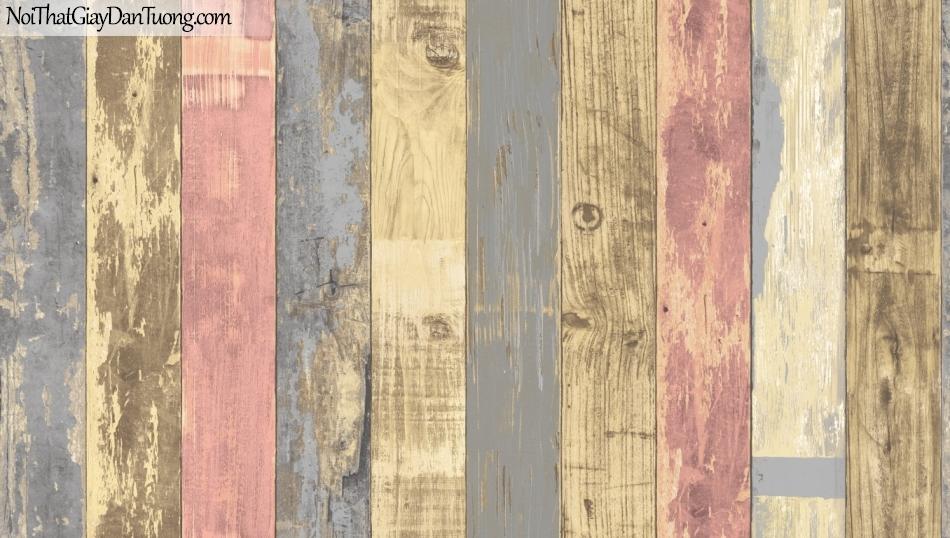 Giấy dán tường giả gỗ, những thanh gỗ nhỏ xếp đứng cạnh nhau, màu vàng, xanh, cam 85058-3 g