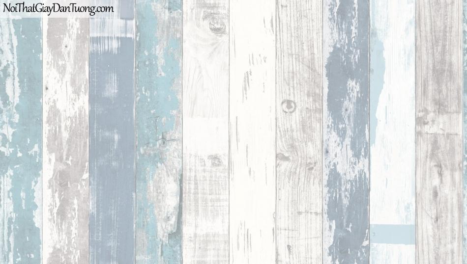 Giấy dán tường giả gỗ, những thanh gỗ nhỏ xếp đứng cạnh nhau, màu xanh, trắng 85058-2 g