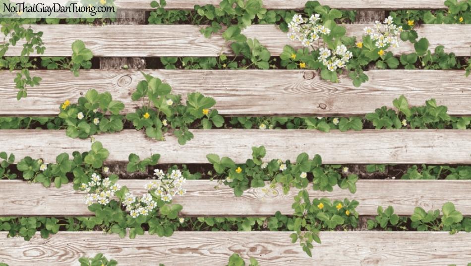 Giấy dán tường giả gỗ, những thanh gỗ nhỏ xếp ngang hàng, cỏ cây, hoa lá 87020-1 g