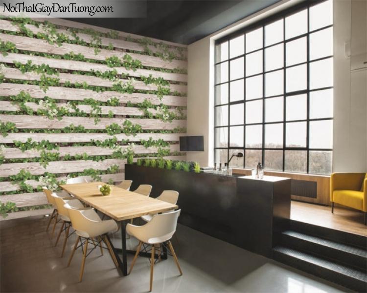 Giấy dán tường giả gỗ, những thanh gỗ nhỏ xếp ngang hàng nhau, cỏ cây, hoa lá 87021-1 gp PC