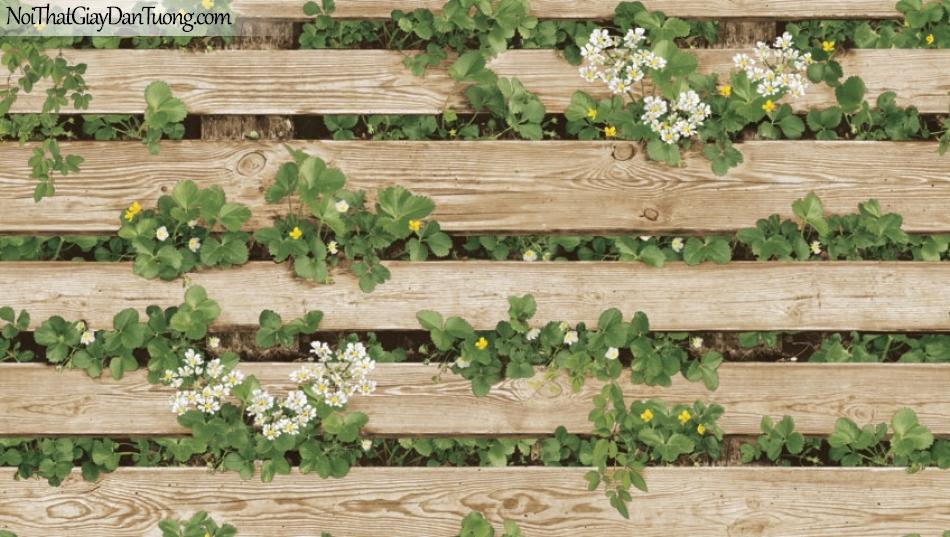 Giấy dán tường giả gỗ, những thanh gỗ nhỏ xếp ngang nhau, cỏ cây, hoa lá 87020-2 g
