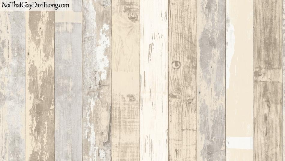 Giấy dán tường giả gỗ, những thanh gỗ xếp đứng cạnh nhau, màu vàng kem, trắng 85058-1 g