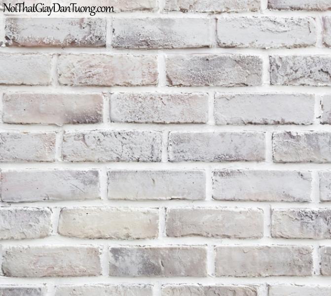 Giấy dán tường giả gạch 3D, giấy dán tường gạch màu trắng, gạch trắng 2030-2 g