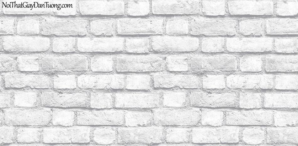 Giấy dán tường giả gạch 3D, giấy dán tường gạch màu trắng, gạch trắng 2124-1 g