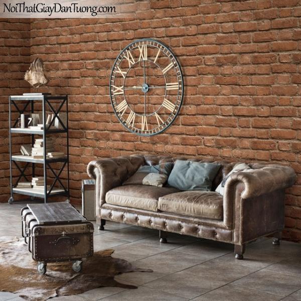 Giấy dán tường giả gạch 3D, giấy dán tường gạch 2124-3 g pc ,phối cảnh màu vàng gạch
