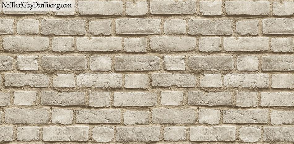 Giấy dán tường giả gạch 3D, giấy dán tường gạch màu trắng, gạch xám vàng 2124-2 g