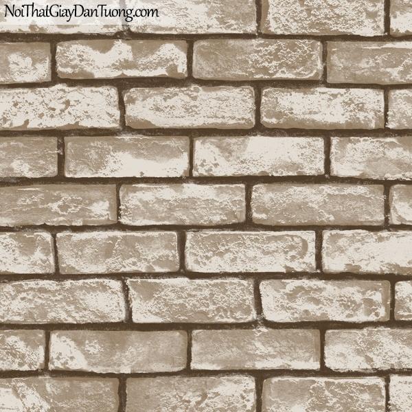 Giấy dán tường giả gạch 3D, giấy dán tường gạch màu trắng, gạch nâu 2575-2 g