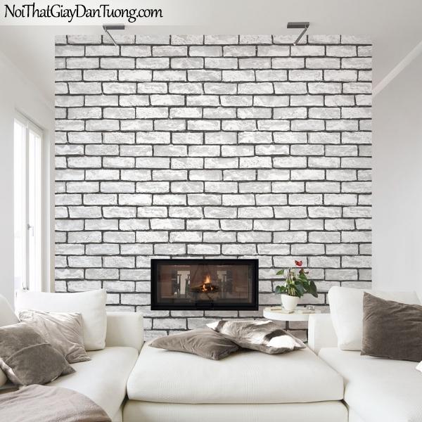 Giấy dán tường giả gạch 3D, giấy dán tường gạch màu trắng, gạch trắng 2575-1 g pc ,phối cảnh