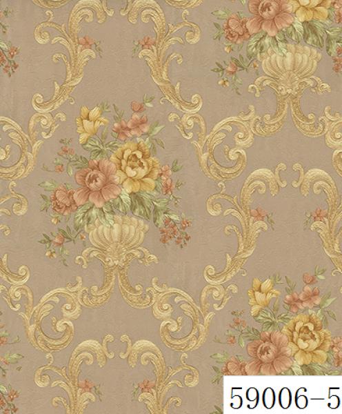 Giấy dán tường RABIA II 59006-5, giấy dán tường màu vàng đẹp, vàng đồng, vòng sẫm