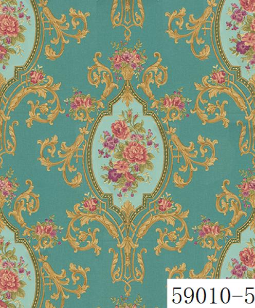 Giấy dán tường RABIA II 59010-5, giấy dán tường hoa văn cổ điển Châu Âu, xanh ngọc, xanh lá, xanh nõn chuối