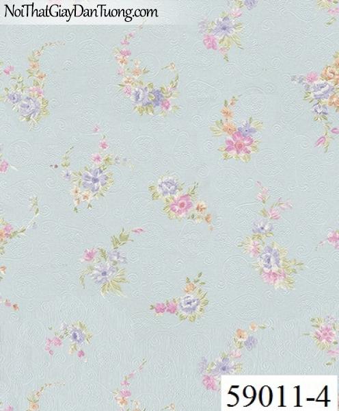 Giấy dán tường RABIA II 59011-4, giấy dán tường hoa rơi màu xanh nhạt, xanh biển nhẹ, xanh da trời, xanh dương
