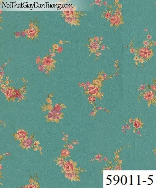 Giấy dán tường RABIA II 59011-5, giấy dán tường hoa văn màu xanh ngọc, xanh lá cây