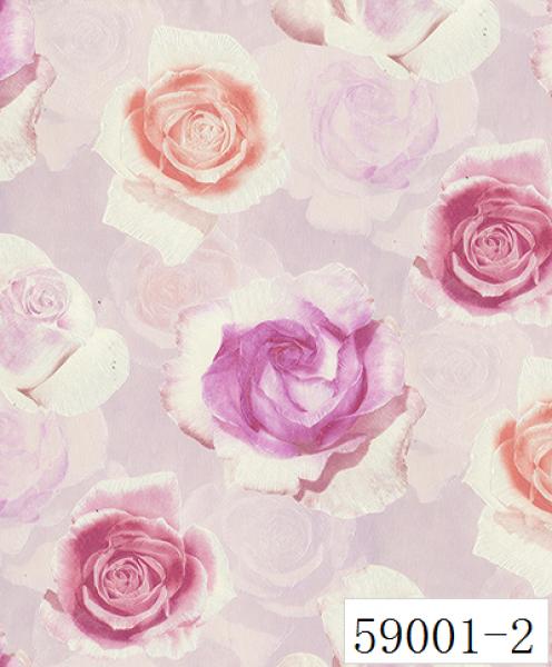 RABIA II, Giấy dán tường 59001-2, giấy dán tường 3D màu hồng, bông hoa hồng 3D màu tím, hoa 3D cho phòng ngủ