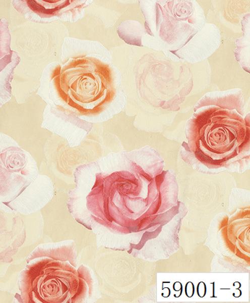 RABIA II, Giấy dán tường 59001-3, giấy dán tường 3D màu đỏ, bông hoa 3D cho phòng ngủ, phòng khách