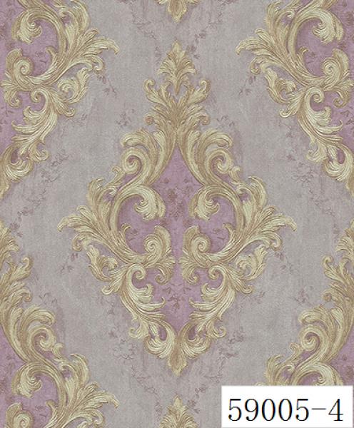 RABIA II, Giấy dán tường 59005-4, hoa văn 3D màu xám, phối màu tím, nhấn màu tím