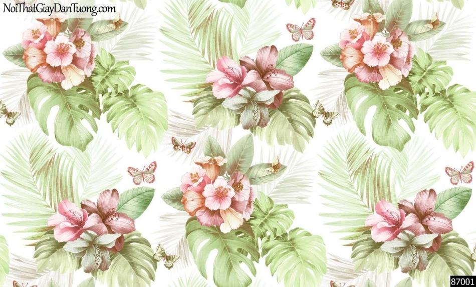 LAKIA, Giấy dán tường LAKIA 87001, Giấy dán tường nền xanh trắng, hoa, lá, xanh đẹp, sang trọng, hiện đại