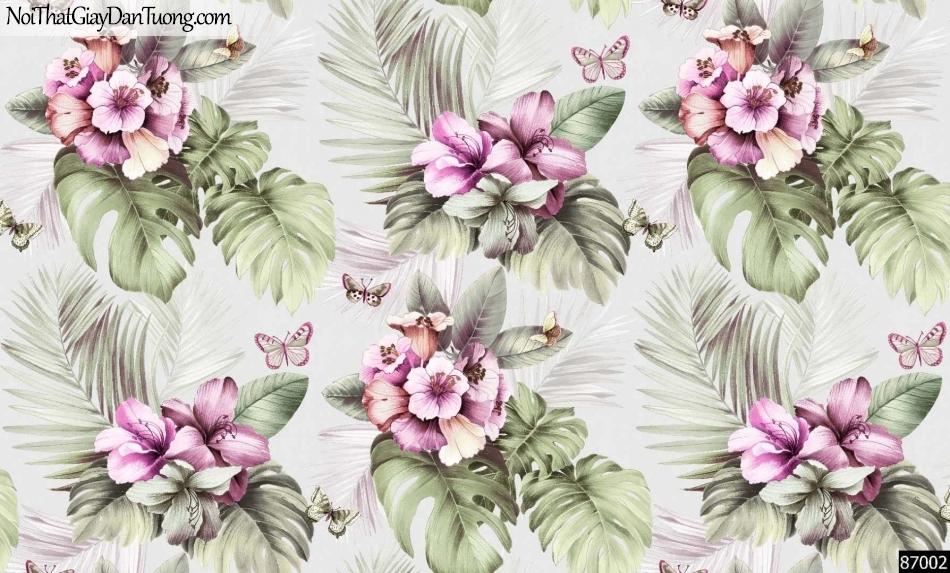 LAKIA, Giấy dán tường LAKIA 87002, Giấy dán tường nền trắng sữa, hoa, lá, hồng đẹp, bán giấy dán tường ở quận 6