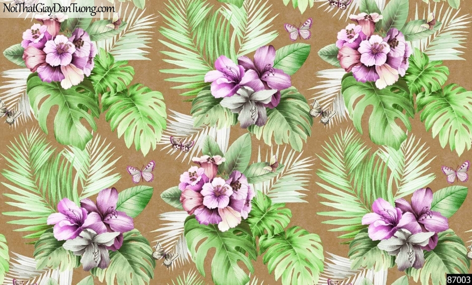 LAKIA, Giấy dán tường LAKIA 87003, Giấy dán tường nền xám đất, hoa, lá, xanh đẹp, phù hợp với phòng khách, phòng ngủ