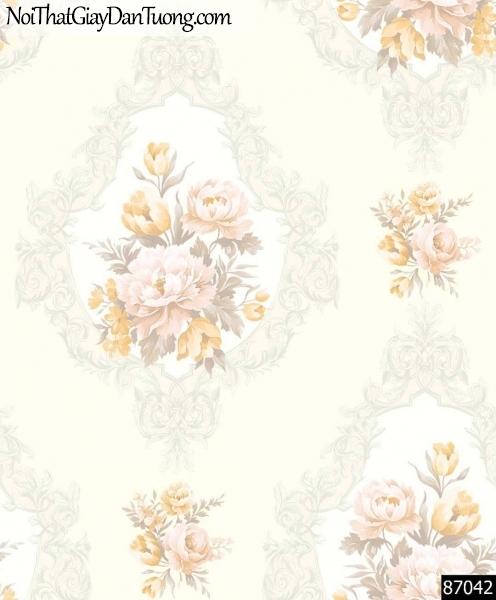 LAKIA, Giấy dán tường LAKIA 87042, Giấy dán tường nền vàng nhạt, giấy trơn, mịn, cành hoa