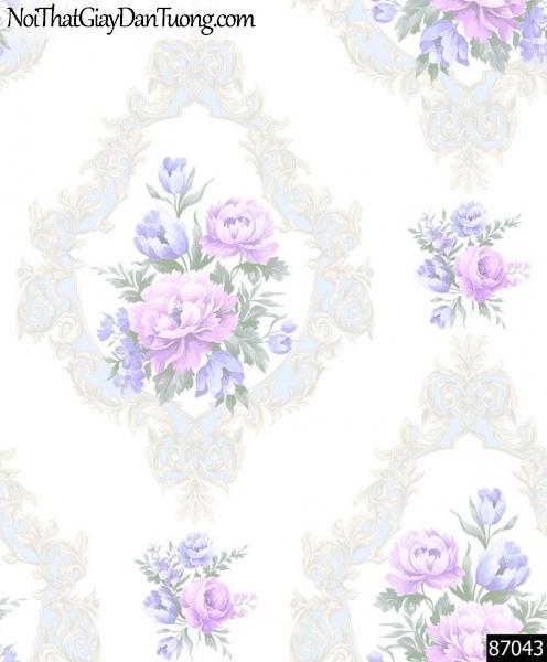 LAKIA, Giấy dán tường LAKIA 87043, Giấy dán tường nền màu trắng sữa, cành hoa tím, sang trọng, hiện đại